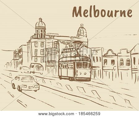 Shopping Chapel street with tram in Melbourne, Australia