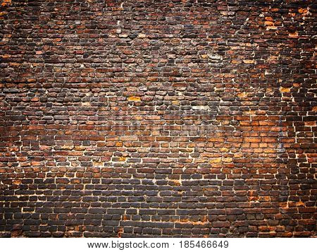 Brick Wall As Background, Weathered Surface With A Vintage Effect