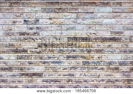 The Gray Wall Of Stone Blocks, Bright Background Of Marble