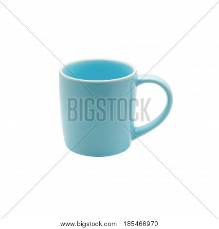 Ceramic blue glass isolated On a white backgroundColorful coffee mugwith clipping path