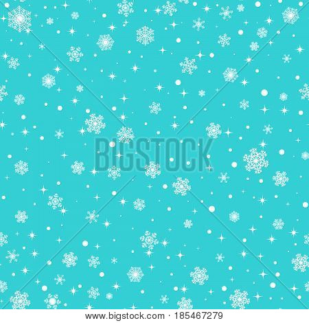 Seamless snowflakes pattern on turquoise background for Christmas design