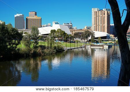 Adelaide Riverbank City Skyline