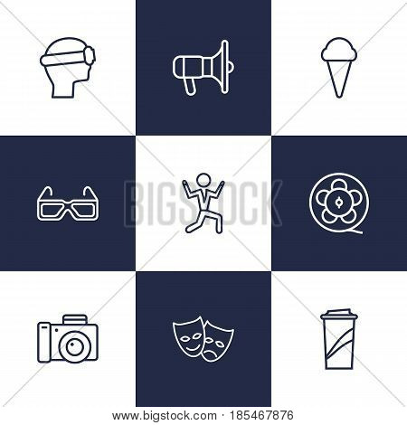 Set Of 9 Pleasure Outline Icons Set.Collection Of Film Role, Ice Cream, 3D Glasses And Other Elements.