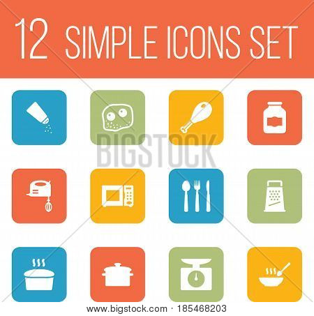 Set Of 12 Kitchen Icons Set.Collection Of Jar, Silverware, Kitchen Rasp And Other Elements.