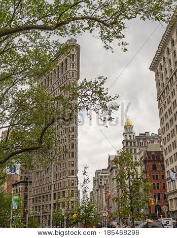 NEW YORK USA - May 6 2017. Views of the Flatiron Building in Midtown Manhattan at the 5th Ave