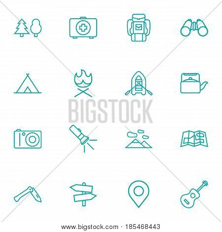 Set Of 16 Camping Outline Icons Set.Collection Of Mountains, Bonfire, Guidepost And Other Elements.