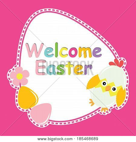 Cute chick, flower, and eggs vector cartoon, Easter postcard, wallpaper, and greeting card, T-shirt design for kids