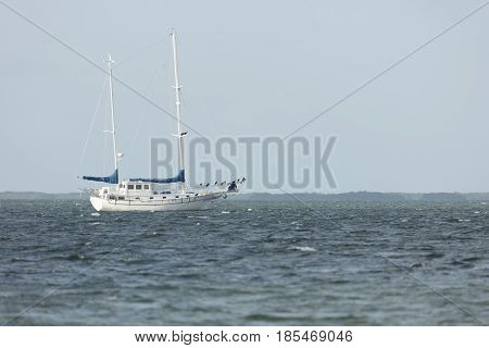 Sailboat Anchored off coast of Dredger Key Sigsbee - Key West Florida