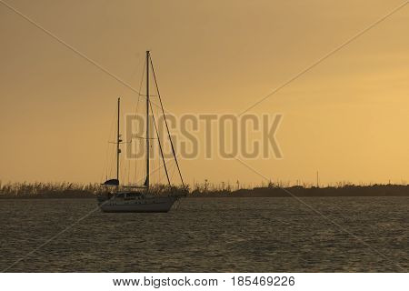 Sailboat anchored in waterway at Dredger Key - Key West Florida