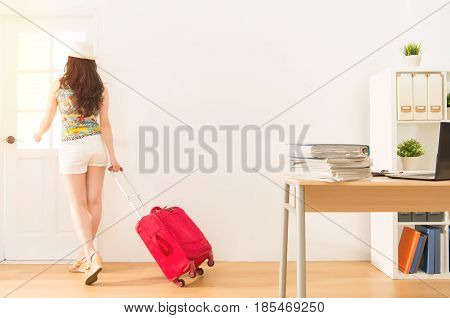Business Woman Holding Suitcase  Get Away