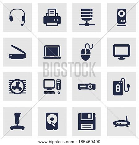 Set Of 16 Laptop Icons Set.Collection Of Peripheral, Show, Photocopy And Other Elements.