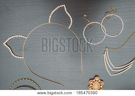 top view flat lay of accessories of a woman to party
