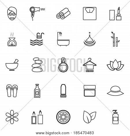 Beauty line icons on white background, stock vector