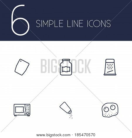 Set Of 6 Kitchen Outline Icons Set.Collection Of Salt, Grater, Chopping Board And Other Elements.