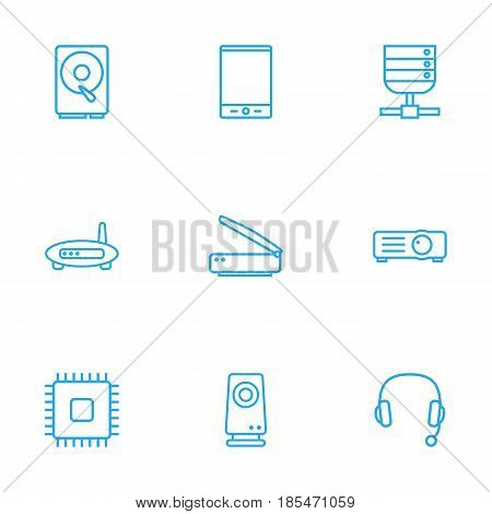 Set Of 9 Computer Outline Icons Set.Collection Of Hdd, Headphone, Tablet And Other Elements.