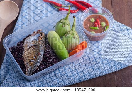 Rice Berry Fried Mackere Shrimp-paste Sauce And Vegetable Boxset