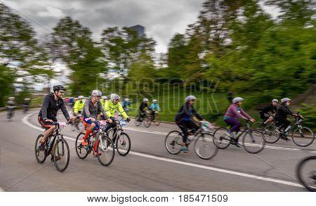 New York NY. USA - May 7 2017. Five Boro Bike Tour at Central Park 103 Street.