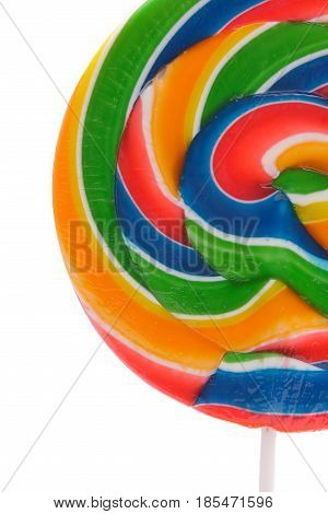 A round multi-colored Lollipop Against a White Background