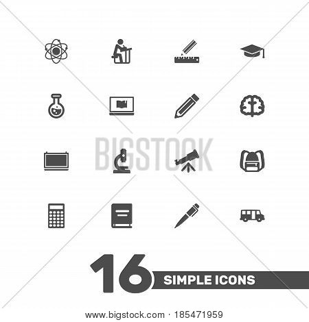 Set Of 16 Studies Icons Set.Collection Of Student, Blackboard, Flask And Other Elements.