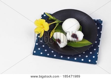 Japanese Dessert ,steamed Rice Flour Cake Fillin Sweet Red Bean.