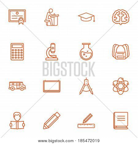 Set Of 16 Science Outline Icons Set.Collection Of Ruler, Microscope, Calculator And Other Elements.