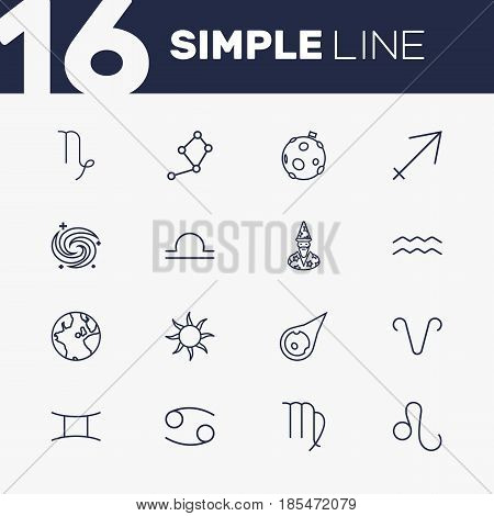 Set Of 16 Astrology Outline Icons Set.Collection Of Virgo, Moon, Globe And Other Elements.