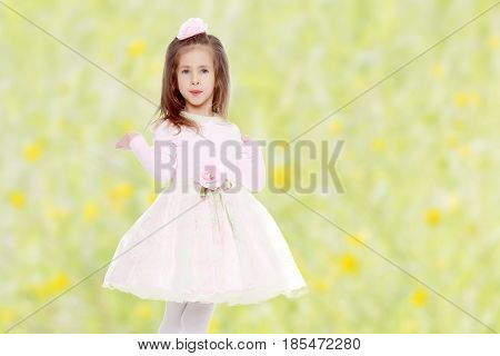 Dressy little girl long blonde hair, beautiful pink dress and a rose in her hair.She spreads her hands aside.Summer white green blurred background.