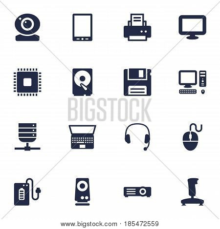 Set Of 16 Laptop Icons Set.Collection Of Diskette, Supply, Show And Other Elements.