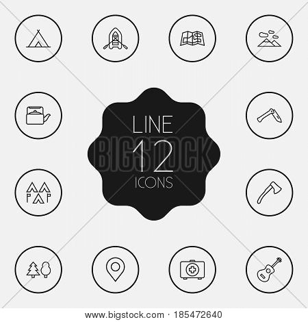 Set Of 12 Outdoor Outline Icons Set.Collection Of Penknife, Medical Kit, Rubber Boat And Other Elements.