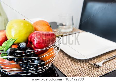 fake fruit for decorate on the table