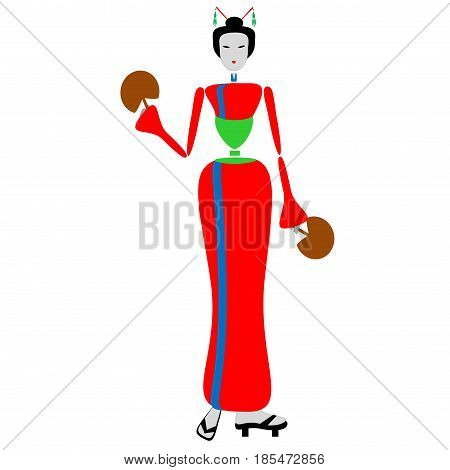 Geisha dance with fan in the hands - Step 1.