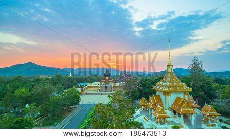 Sunset At Wat Huay Mongkol Temple