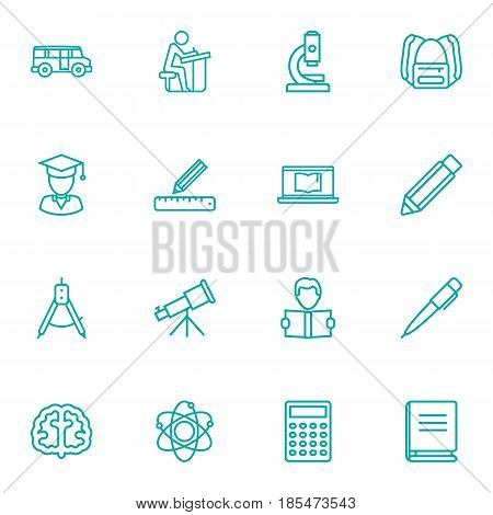 Set Of 16 Education Outline Icons Set.Collection Of Atom, Learning, Calculator And Other Elements.