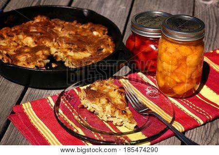 Slice of apple pancake on a plate