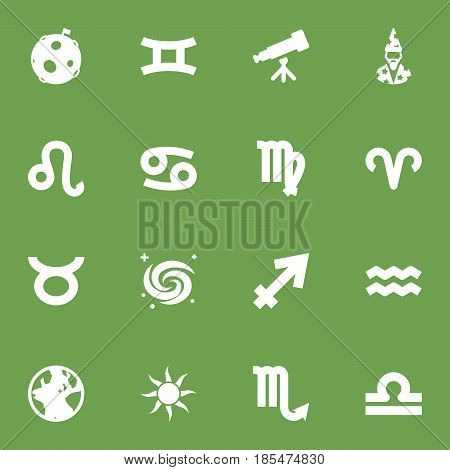 Set Of 16 Horoscope Icons Set.Collection Of Twins, Water Bearer, Lunar And Other Elements.