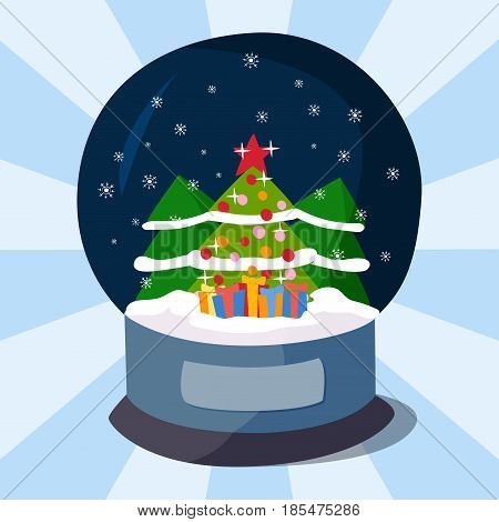 Snow clobe christmas magic ball transparent realistic design holiday celebration magic light sphere vector illustration. Xmas winter glass crystal snowball bubble object.