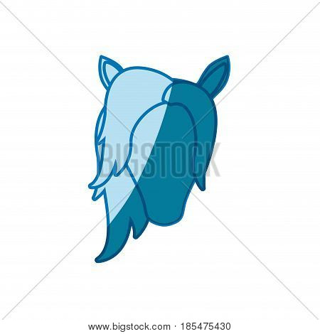 blue silhouette of front face of female faceless horse with mane vector illustration