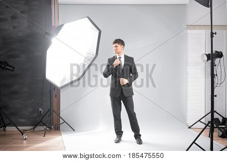 Professional model posing in studio