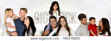 Large group of happy families of different races