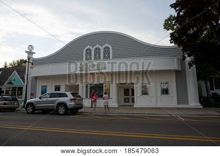 HARBOR SPRINGS, MICHIGAN / UNITED STATES - August 4, 2016: One may watch movies at the Lyric Cinema in downtown Harbor Springs.