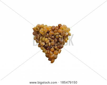 Raisins In The Form Of Heart Isolated On White Background
