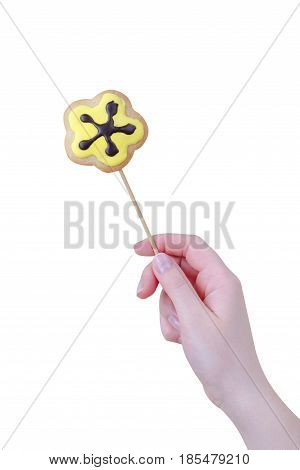 Woman's Hands Holding A Valentine Cookie Isolated On White Background
