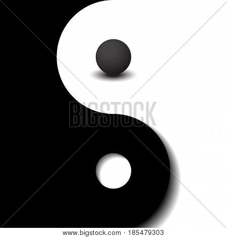 3d sphere black and white yin yang symbol
