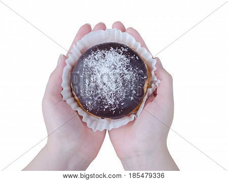 Cake With Chocolate On Woman Hands Isolated On White Background