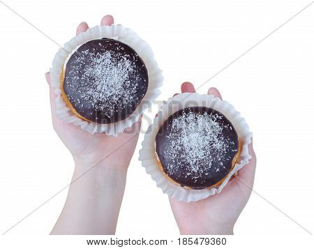 Cakes With Chocolate On Woman Hands Isolated On White Background