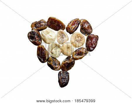 Assortment Of Dried Figs And Dates In The Form Of Heart Isolated On White Background