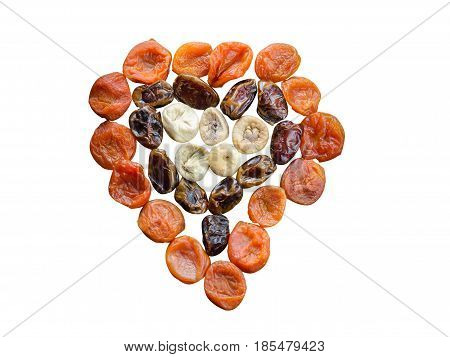 Assortment Of Dried Figs, Dates And Apricots In The Form Of Heart Isolated On White Background