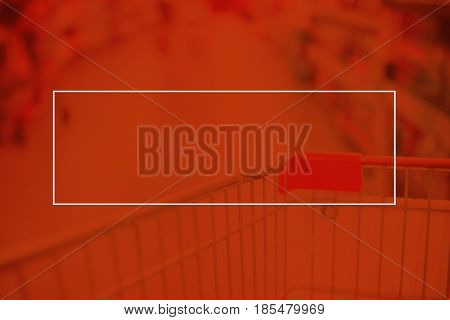 Empty White Frame On Red Duotone Of Blur Supermarket Background, Mock Up For Adding Your Text