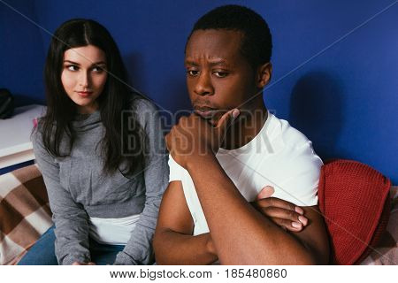 Couple White Woman Black Man Interracial Think Future Serious Plans Thoughtful Concept