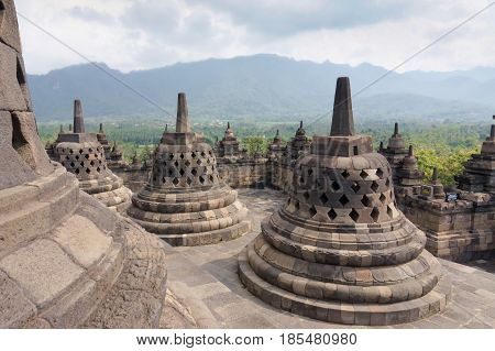 The 9th-century Mahayana Buddhist temple Borobudur Magelang Regency near Yogyakarta Java Island Indonesia .